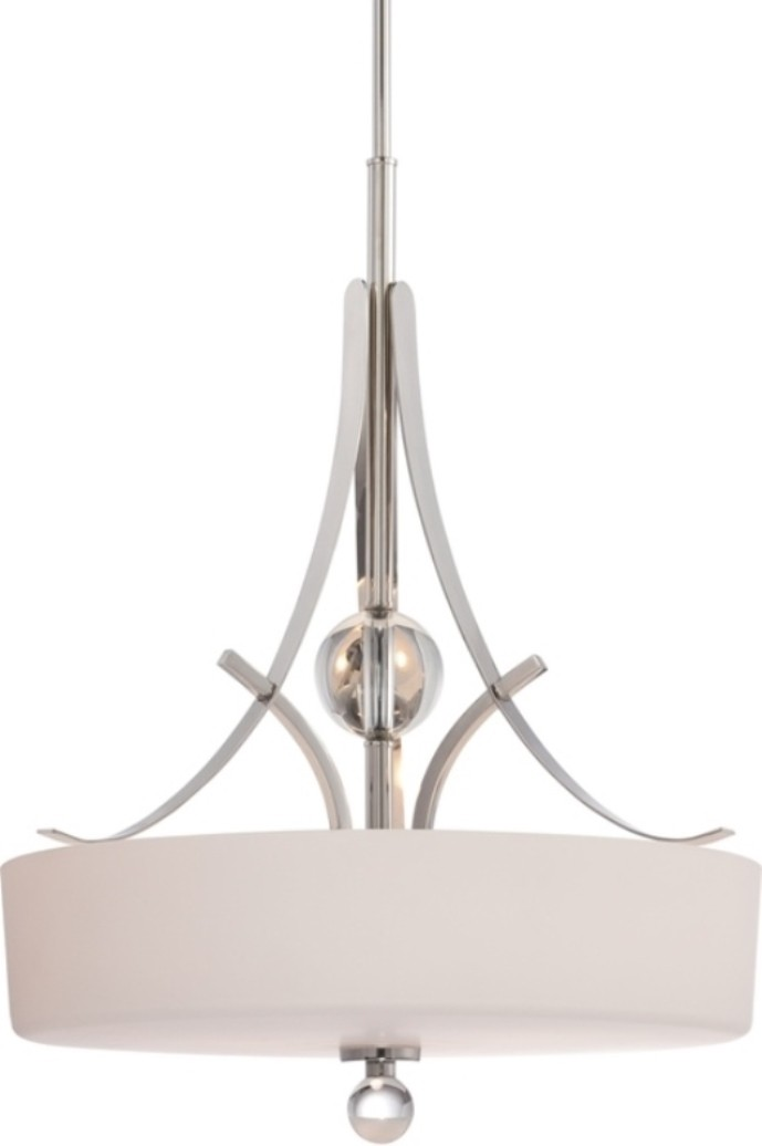 "Connie Polished Nickel & White Glass Drum Pendant Light 20""Wx37""H"