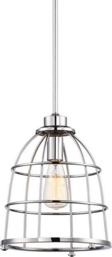 maxx polished nickel pendant light metal wire cage shade