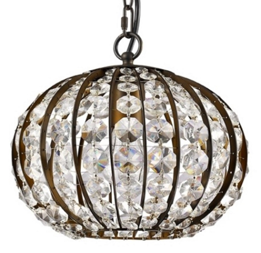 """Olivia Oil Rubbed Bronze Crystal Ball Chandelier 10""""Wx8""""H - Sale !"""