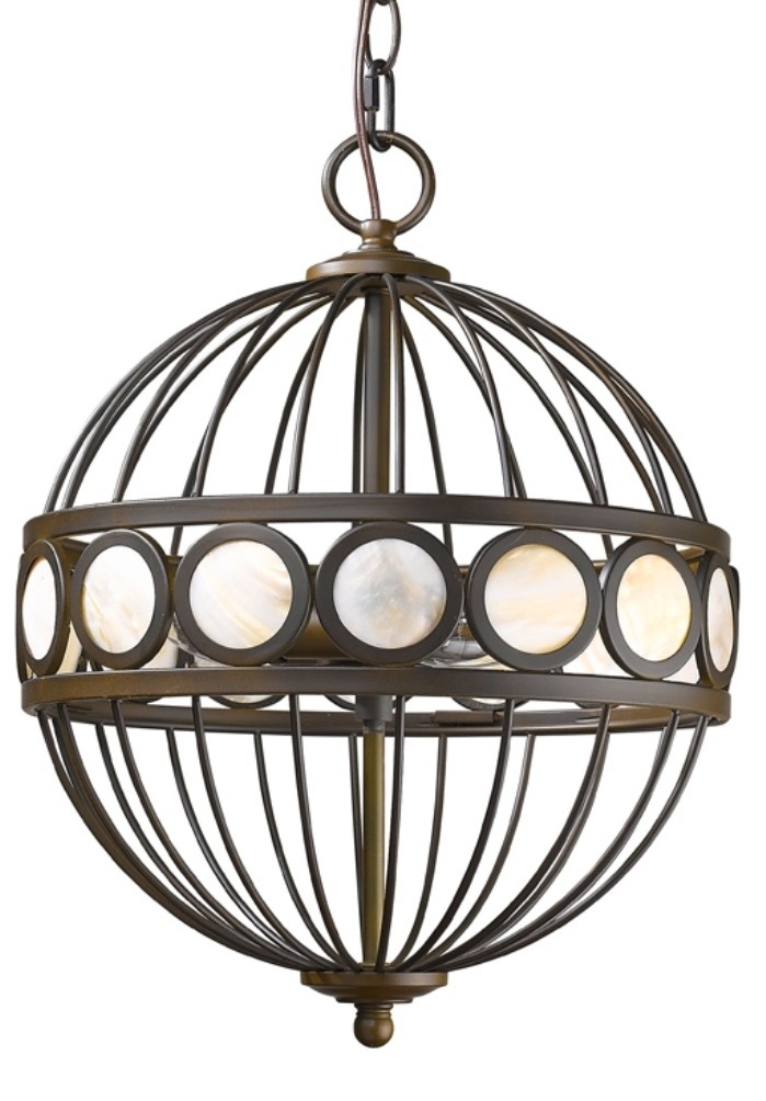 Aria Oil Rubbed Bronze Sphere Chandelier Mother Of Pearl