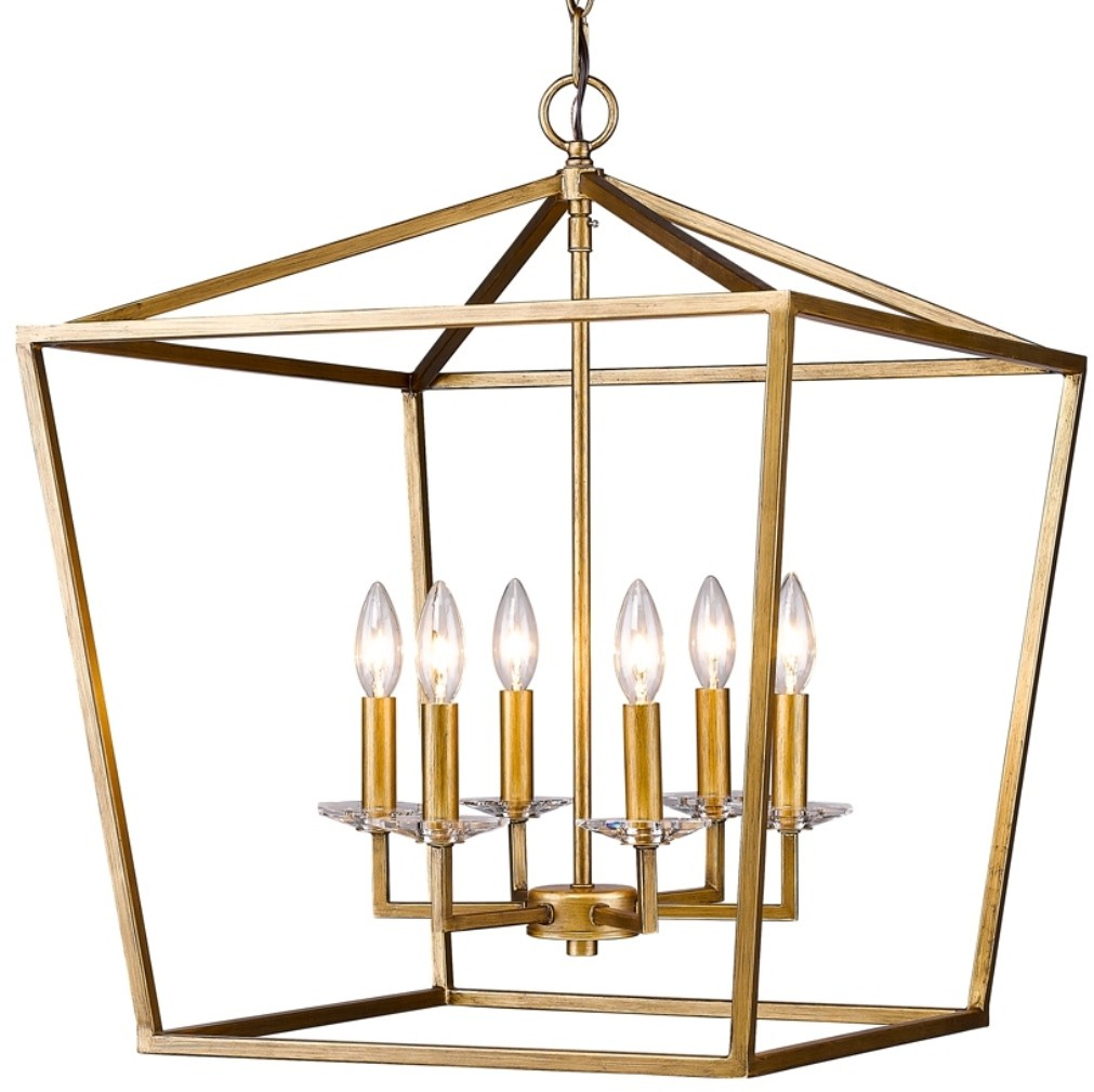 "Kennedy Antique Gold Lantern Pendant Light 20""Wx24""H #"