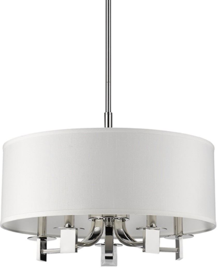 Andrea Polished Nickel U0026 White Drum Pendant Light ...