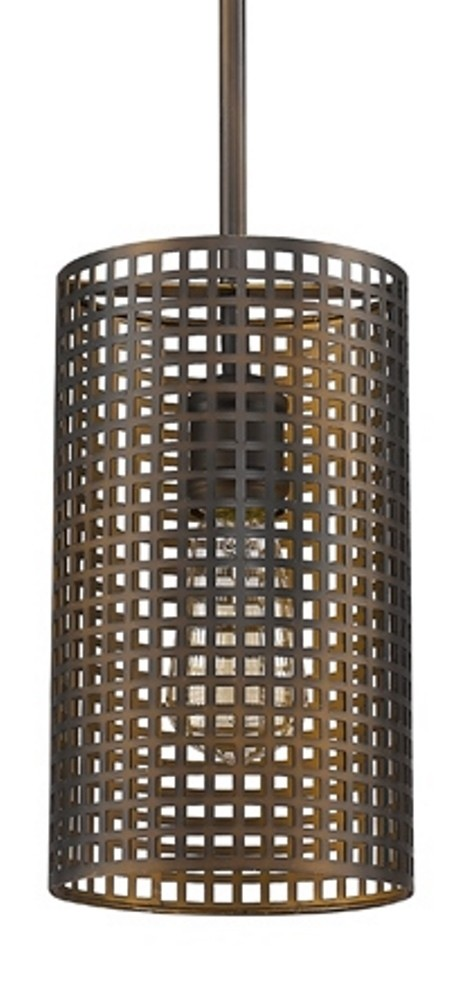 Loft Bronze Raw Brass Mesh Drum Shade Pendant Light 6\