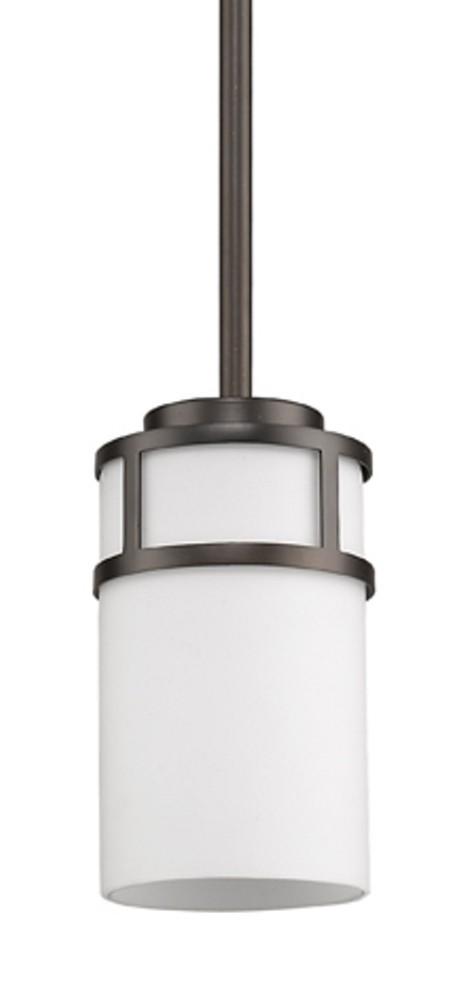 "Alexis Oil Rubbed Bronze White Drum Glass Mini Pendant Light 5""Wx6""H"
