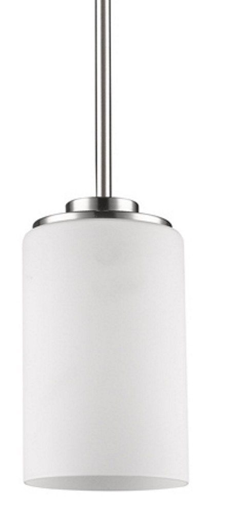 "Addison Satin Nickel White Drum Glass Mini Pendant Light 5""Wx6""H"