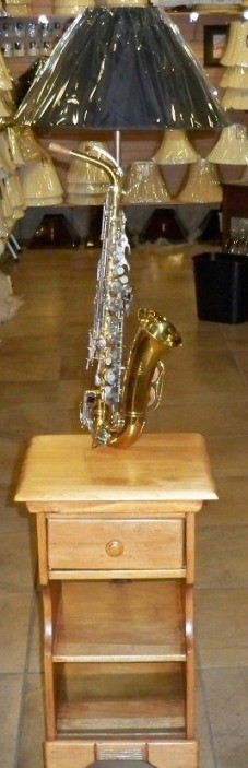 Saxophone Lamp Built Onto Table
