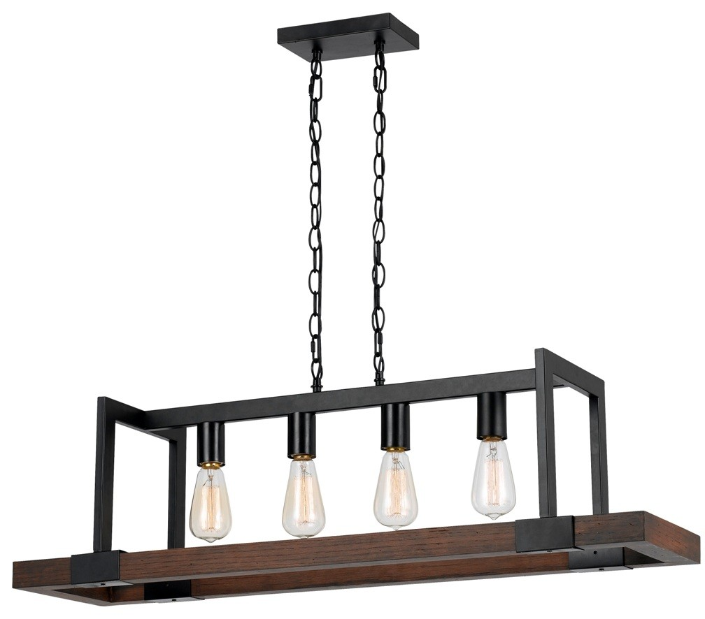 Bronze Metal Wood Pendant 4 Lights 39 Quot W Fx 3586 4