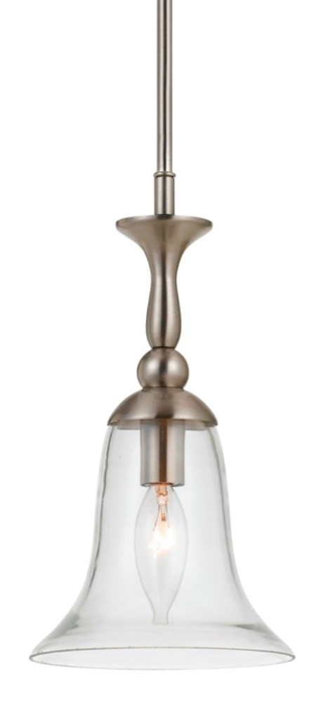 "Belair Brushed Steel & Glass Mini Pendant Light 7""W - Sale !"