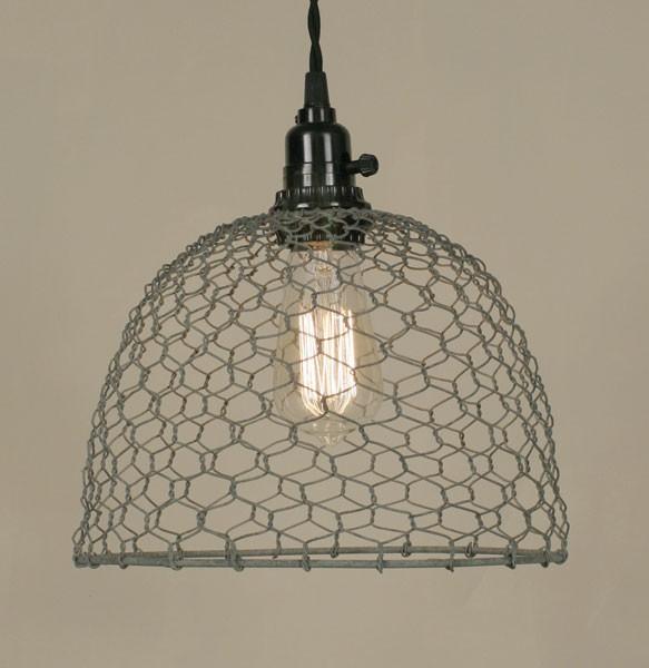 Primitive Gray Chicken Wire Rustic Swag Lamp