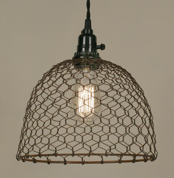 Primitive Rust Chicken Wire Rustic Swag Lamp Lamp Shade Pro