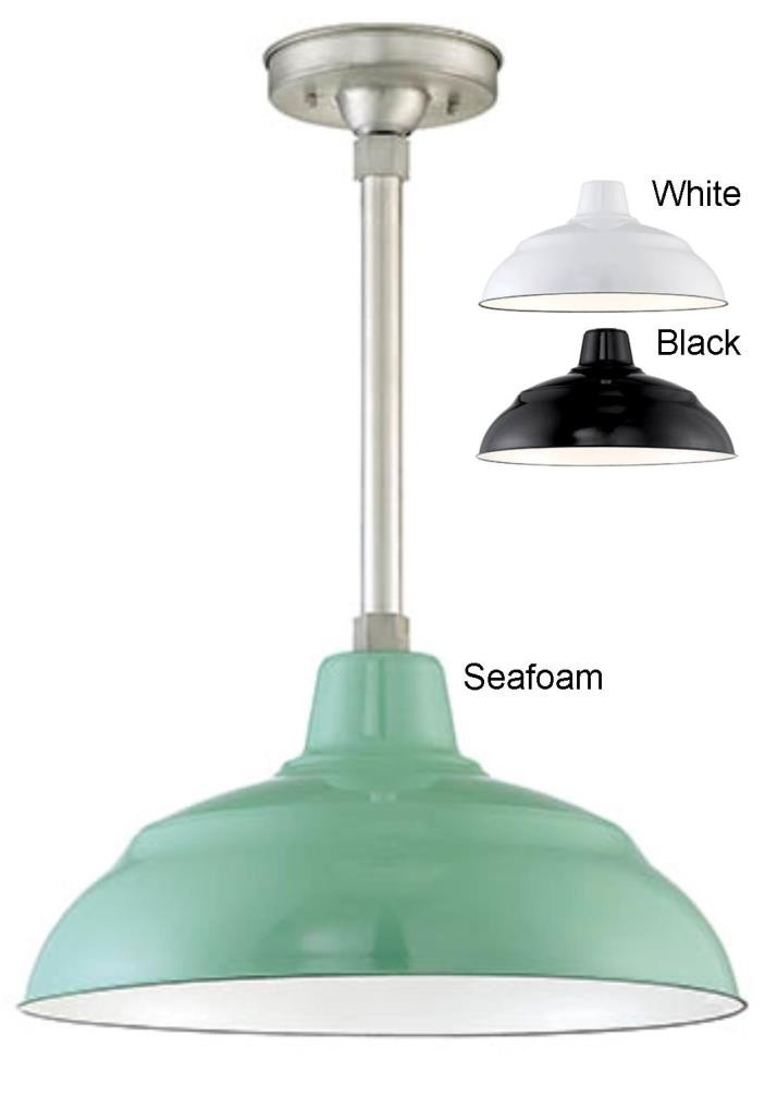 "Porcelain Enamel Pendant Light 3 Colors Indoor-Outdoor 14-17""W"