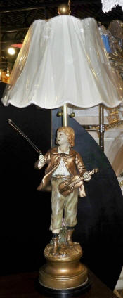 Marbro Boy Violin Statue Lamp With New Victorian Shade Restored Lamp Shade Pro