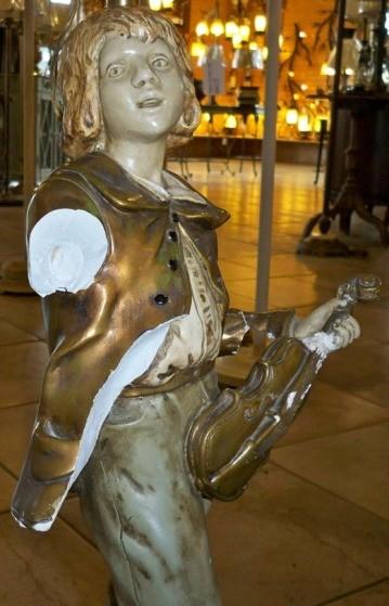 Marbro Boy Statue Lamp Missing Arm, Violin Broken Bow Missing