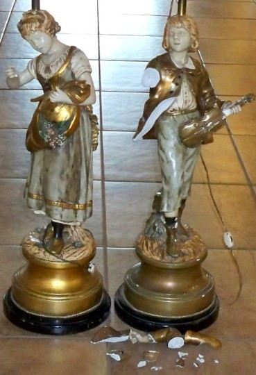 Marbro Boy And Girl Statue Lamps Before Repair Lamp