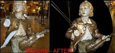 Marbro Boy Lamp Violin Before and After Repair