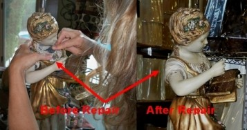 Marbro Girl Statue Lamp Before and After Restoration