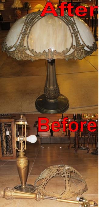 Before & After Photo of Slag Lamp Restoration