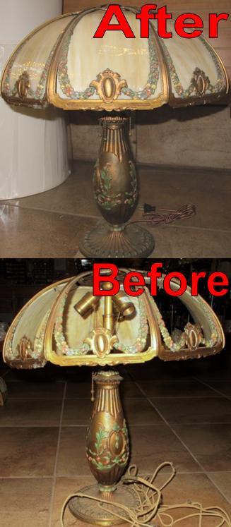Slag Lamp Glass Shade & Base Repair