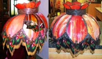 Red Slag Lamp Shade w/Beaded Fringe Before & After Repair