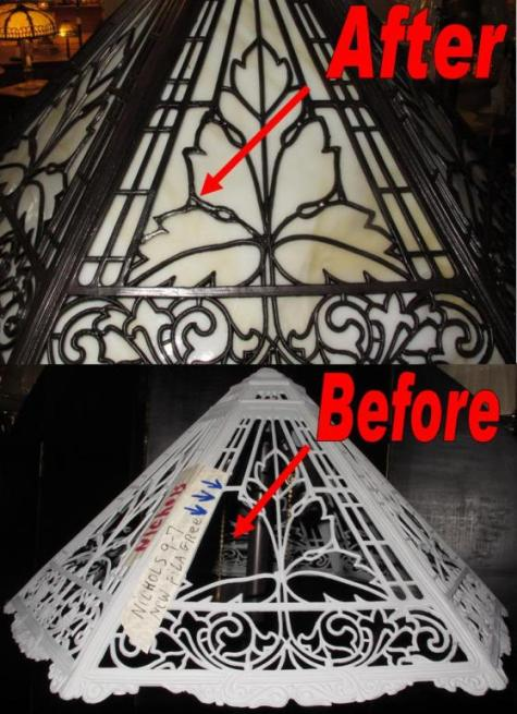Slag Lamp Shade Repair Created Filigree, New Glass & Refinished