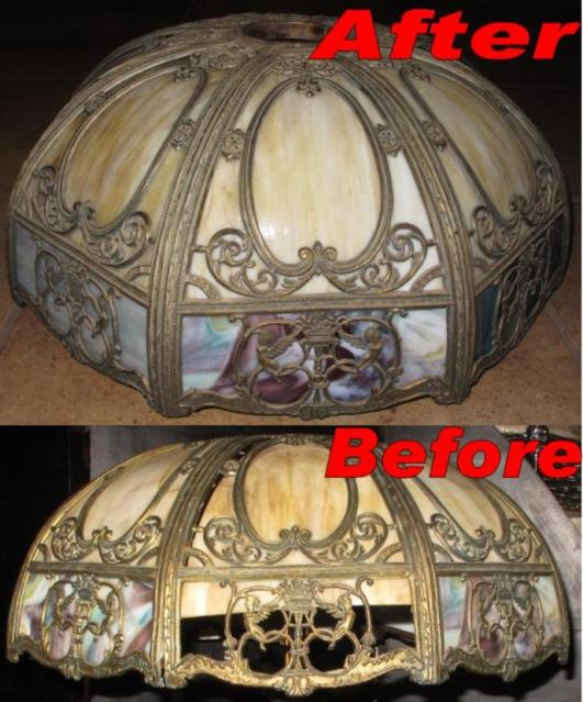 Slag Lamp Shade Frame & Glass Repair