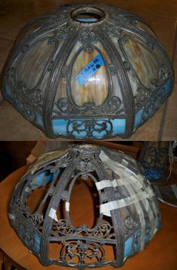 Slag Shade Frame, Glass & Metal Filigree Restoration