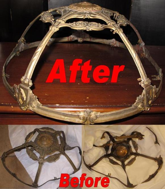 Destroyed Then Repaired Slag Lampshade Frame