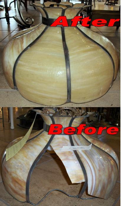 Restored Straightened Slag Lamp Shade Frame Lamp Shade Pro