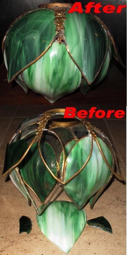 Green Tulip Style Slag Lamp Repair Lamp Shade Pro