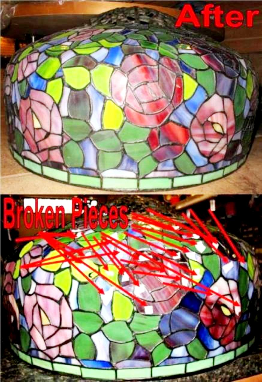 Large Tiffany Shade Dozens of Glass Pieces Replaced