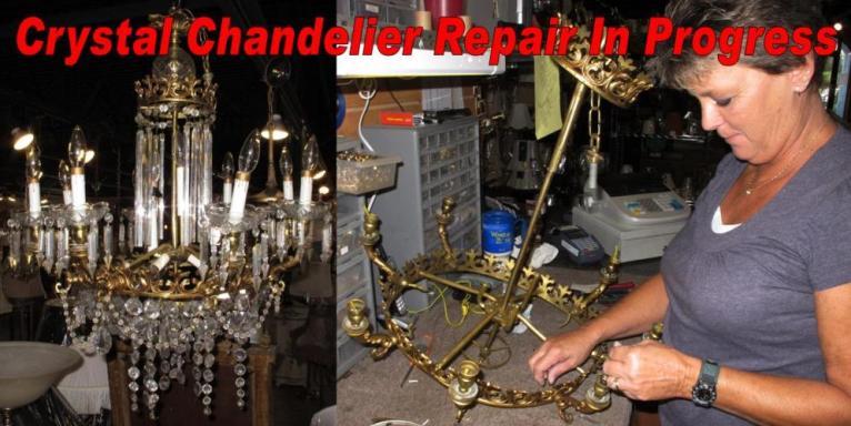 Brass & Crystal Chandelier Repair In Progress