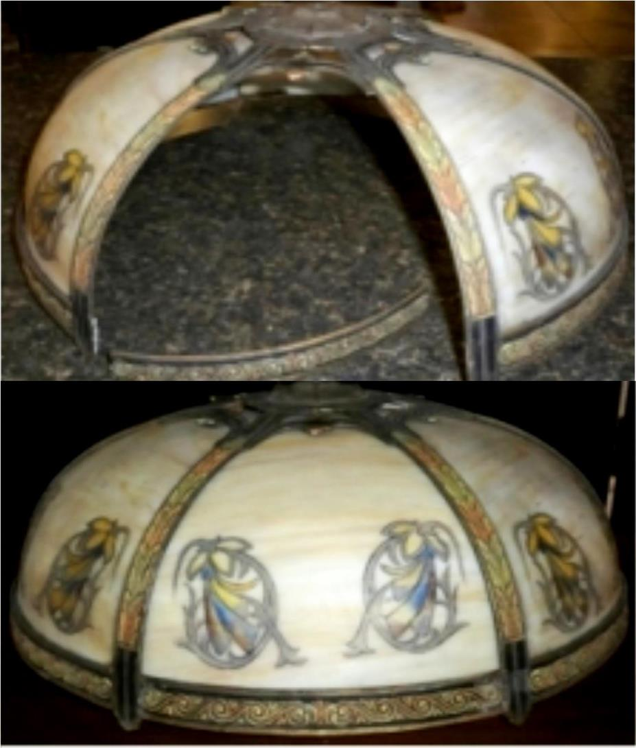 Early Vintage Reverse Painted Slag Lamp Shade Repair