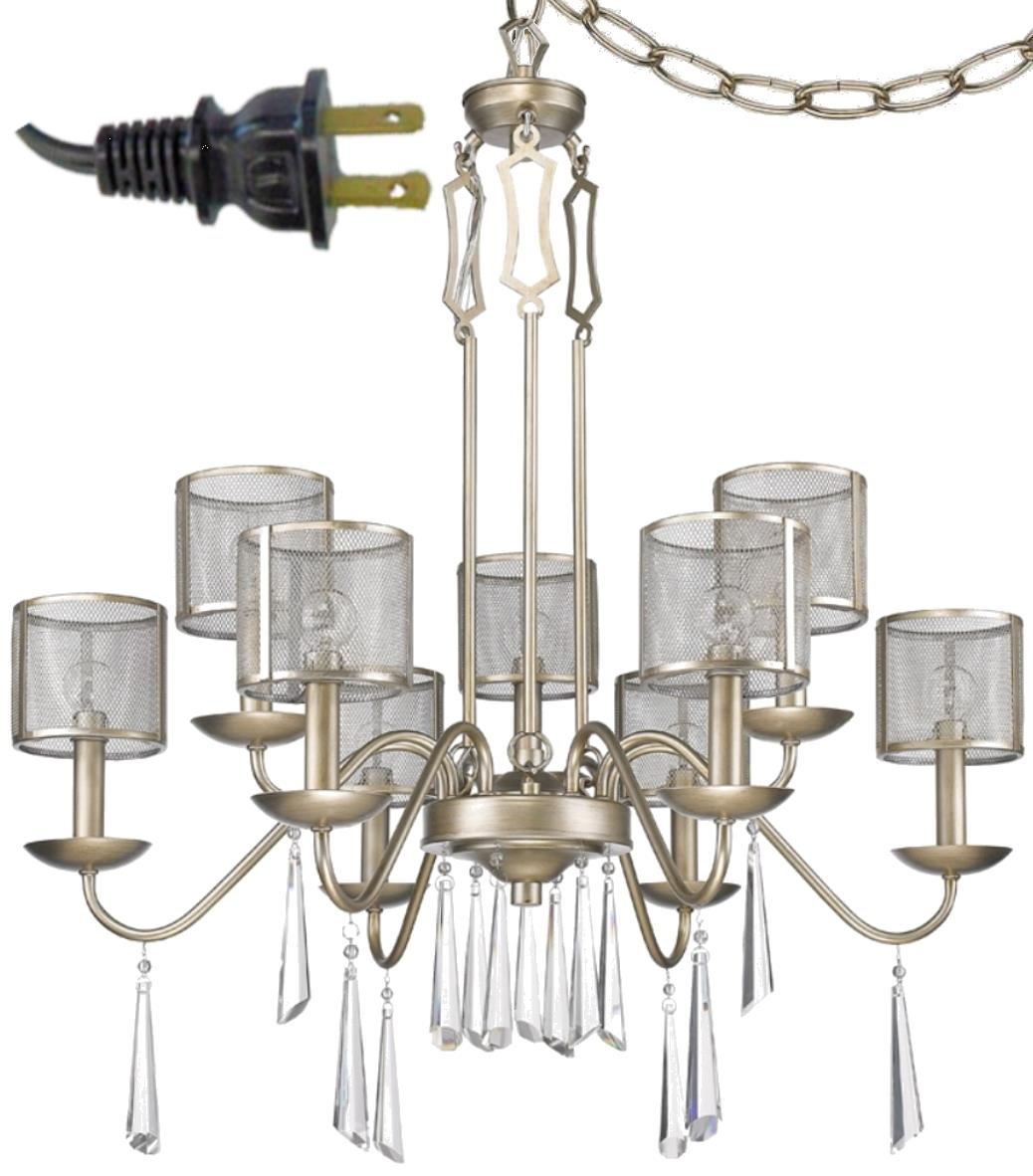 """Rita Washed Gold & Crystals Industrial Plug In Chandelier Swag Lamp 29""""Wx34""""H"""