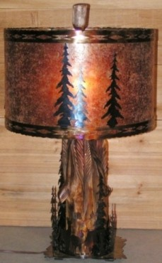 "Custom Wood Lamp Mica Shade 26""H"