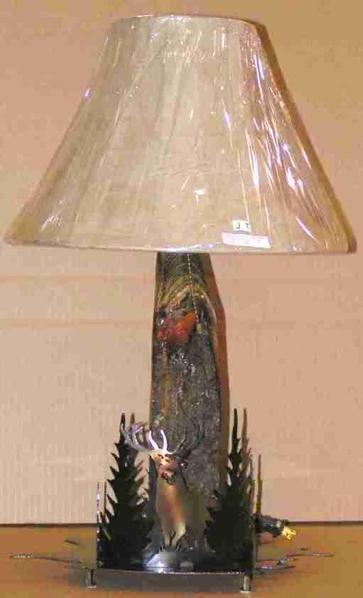 "Elk & Trees Wood Lamp 26""H"