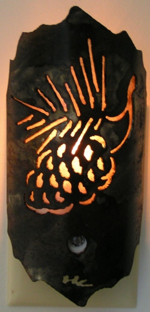 "Pine Cone Sconce Metal & Mica Wall Night Light 3""Wx6.5""H"