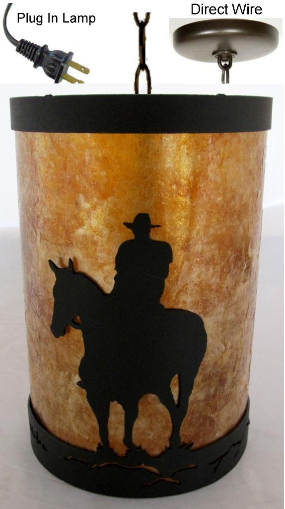 Cowboy On Horse Mica Amp Metal Pendant Light Lamp Shade Pro
