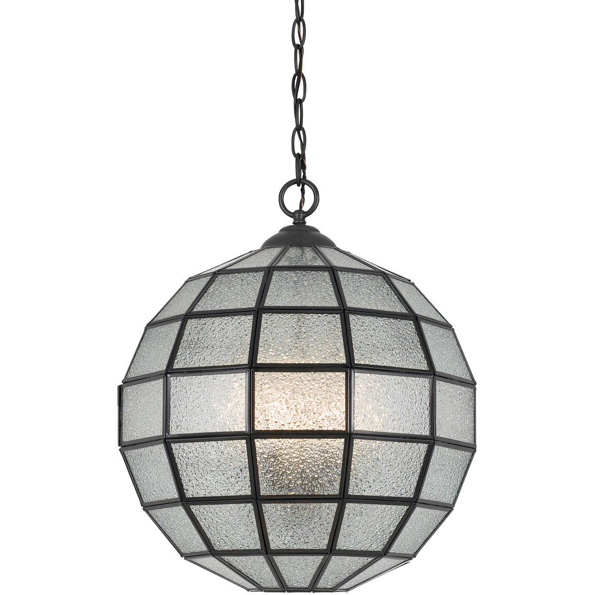 "Seeded Glass Ball Pendant Light Black Frame 16""W - Sale !"