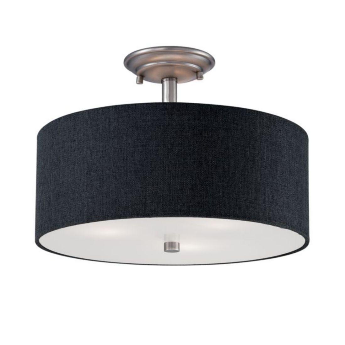 jackson pewter semi flush ceiling light drum shade 15 wx11 h 3123