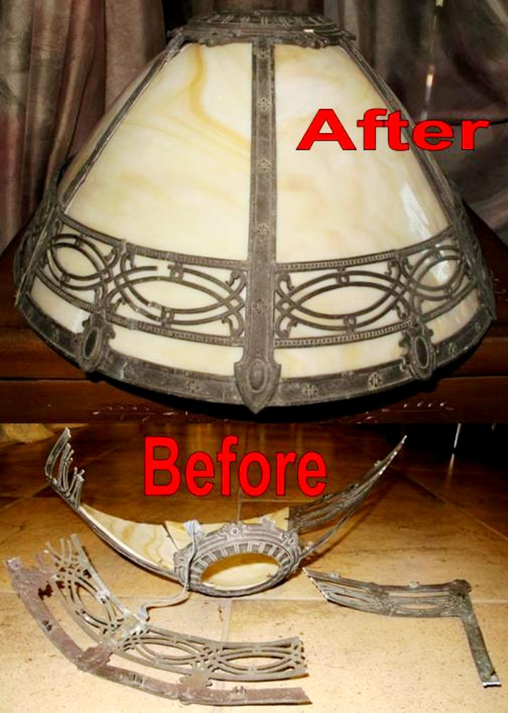 Antique Slag Lamp Shade Repair Before And After Lamp