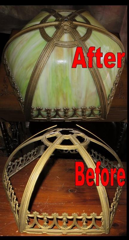 Six Panel Slag Lamp Shade Frame & Glass Repaired