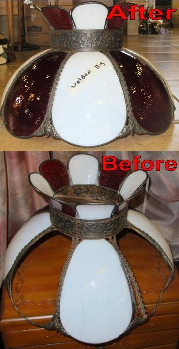 Red & White Slag Lamp Shade Repair