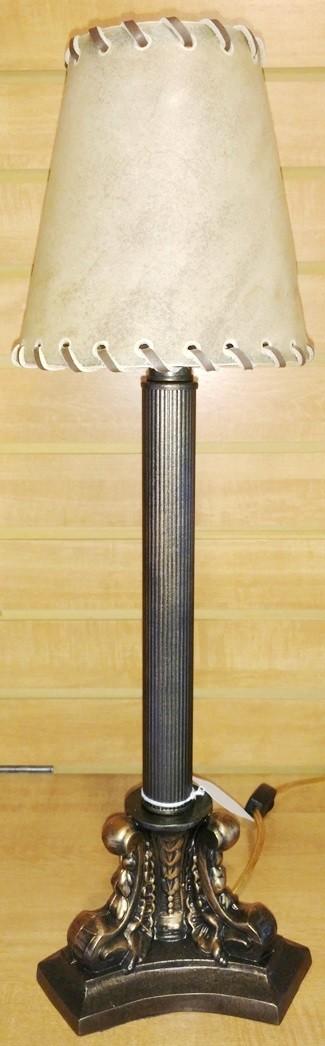 "Small Bronze Lamp Rawhide Shade 22""H"