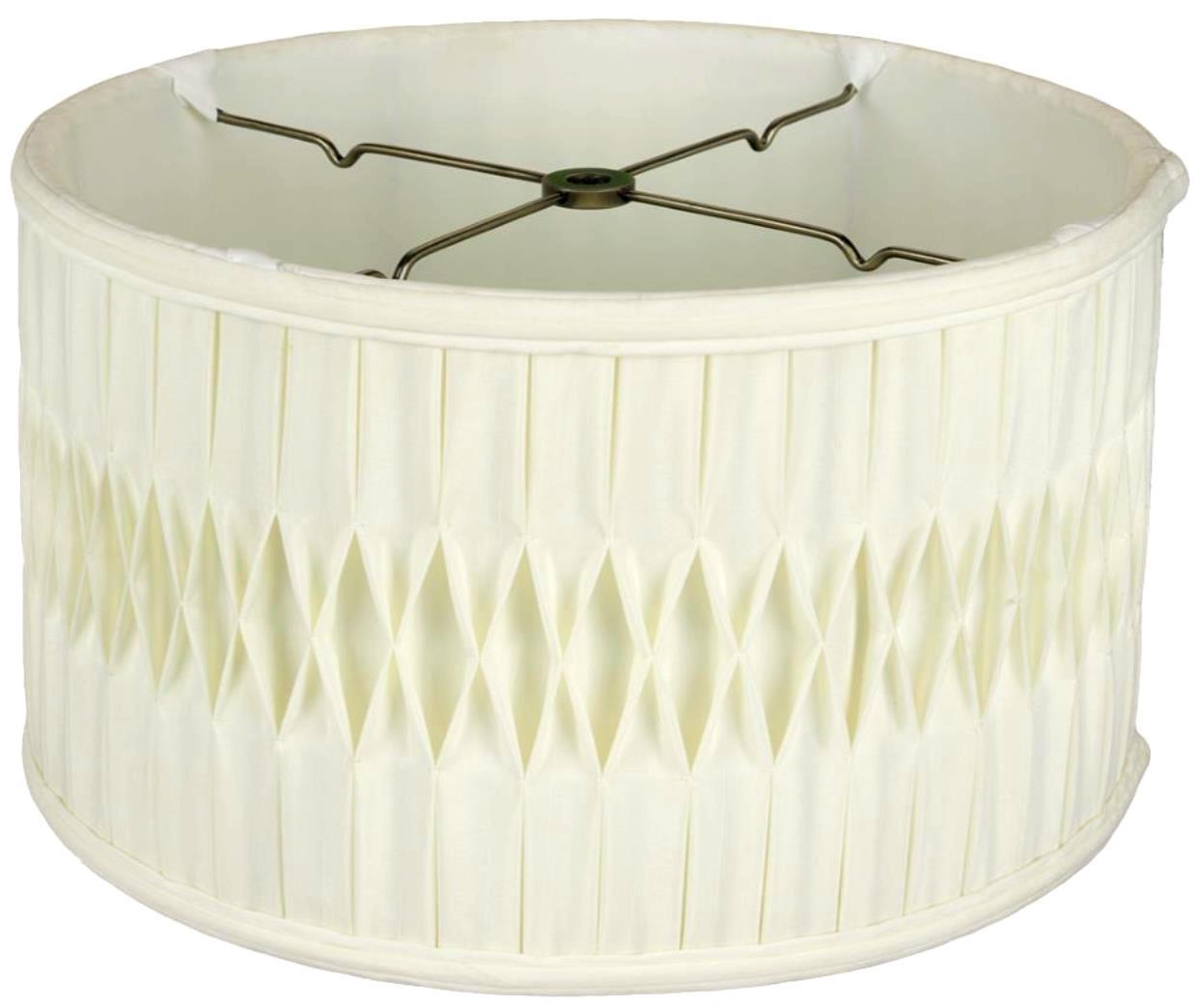 "Smock Pleated Silk Shallow Drum Lamp Shade Cream, White 12-18""W"