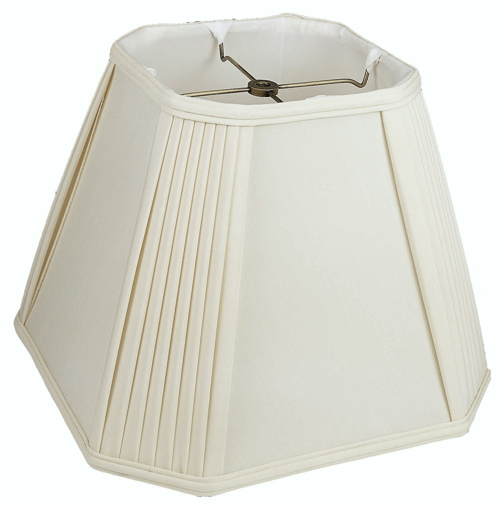 "Pleated Corners Square Silk Lamp Shade Cream, White 12-18""W"
