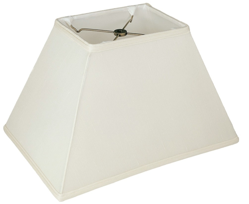 "Tapered Rectangle Silk Lamp Shade Cream, White, Black 12-18""W"
