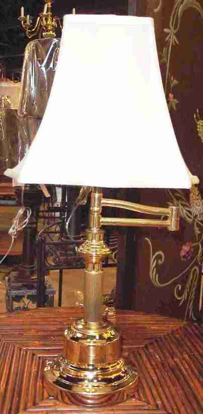 "Brass Finish Desk Lamp 22""H"