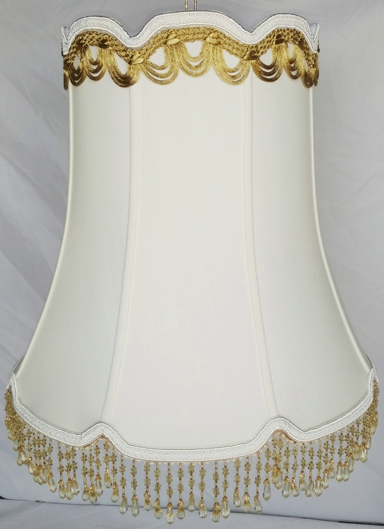 """Victorian Beaded V Notch Bell Drum Lamp Shade 14-18""""W"""