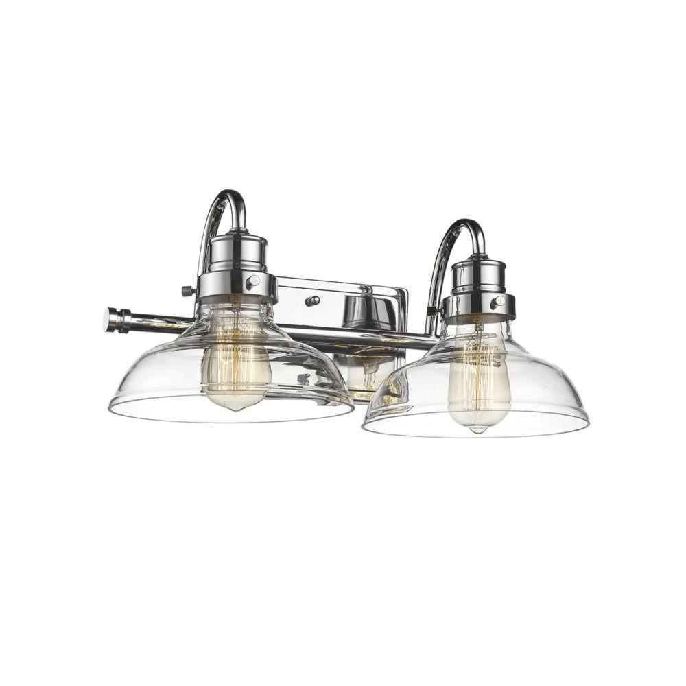 chrome bathroom wall light wide base clear glass 17 u0026quot wx8 u0026quot h