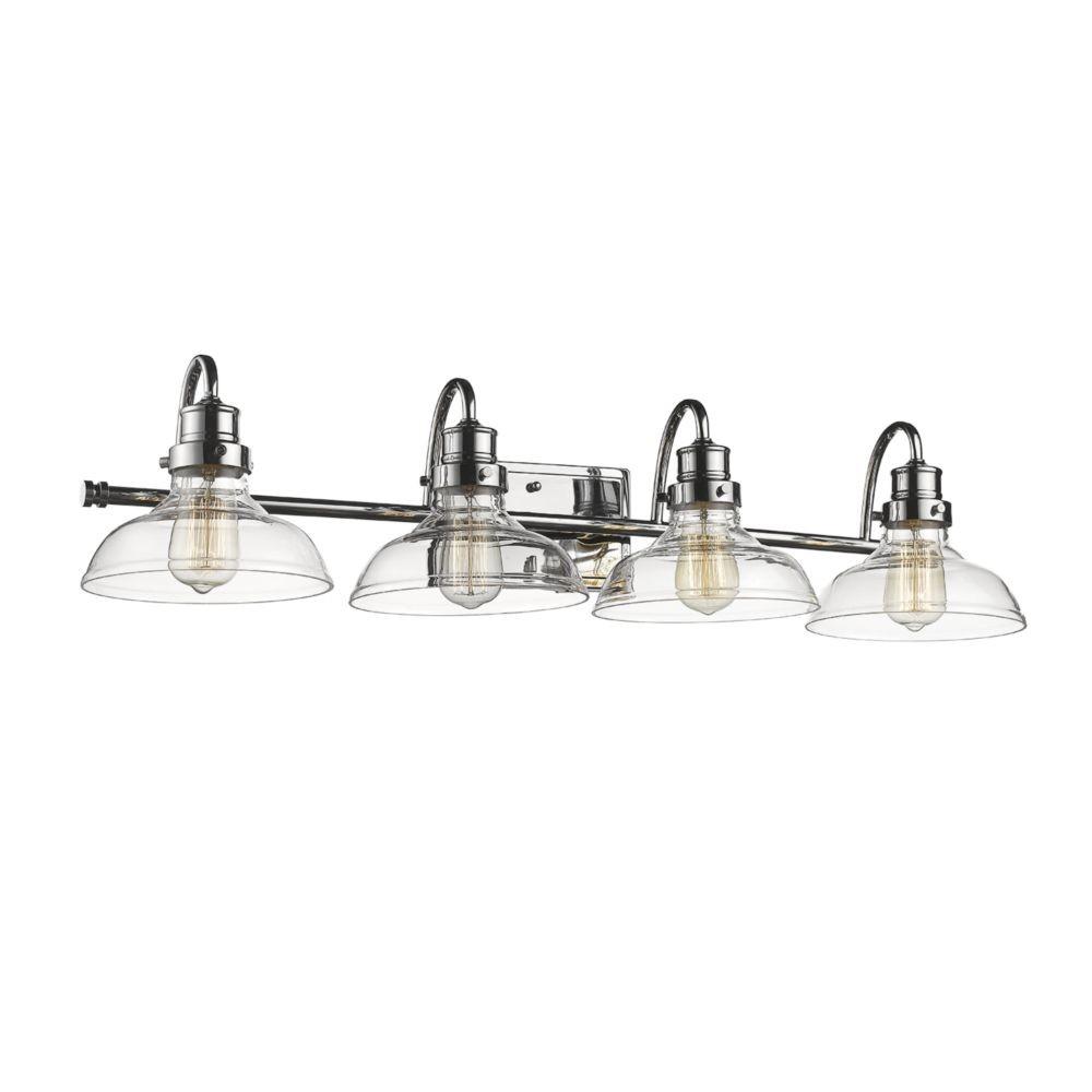 chrome bathroom wall light wide base clear glass 35 u0026quot wx8 u0026quot h